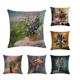 Painting oil Paints online shopping - factory oil painting euro pillow cover flower funda cojin vase decorativos cotton linen sofa cushion cover ZY215