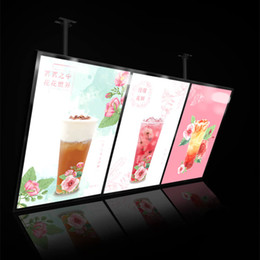 Discount lighted menu boards 60x120cm Restaurant Menu Board Menu Display Magnetic Light Box Row Wall Hang or Ceiling Hang With 3pcs Light Boxes Units