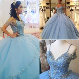quinceanera dresses red bling Australia - Elegant light blue quinceanera dresses masquerade Spaghetti Straps Bling Beaded Crystal sweet 15 dresses ball gown puffy prom dresses 2019