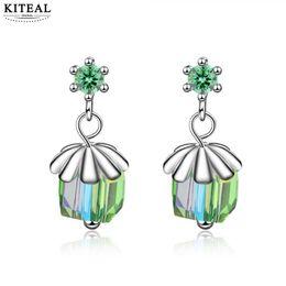 $enCountryForm.capitalKeyWord UK - KITEAL 2019 Newest Arrival silver plated Maiden earring Japan South Korea style Green crystal cube orecchini love 925