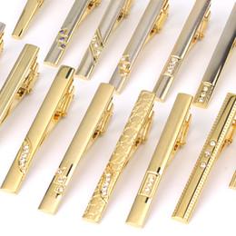 Metal tie for Men online shopping - New Tie Clips Men s Metal Necktie Bar Crystal Dress Shirts Tie Pin For Wedding Ceremony Metal Gold Clip Man Accessories