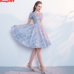 Discount elegant sexy dinner dresses - DongCMY New Short Sexy Flower Cocktail Dresses Sleeve Dinner Elegant Vestido Gowns