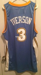 iverson t shirts NZ - Cheap wholesale Allen Iverson Jersey Men Sewn Blue AD #3 T-shirt vest Stitched Basketball jerseys Ncaa
