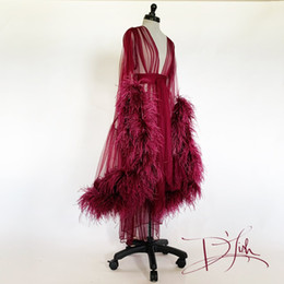 long ostrich feathers red 2019 - Wine Ostrich Deluxe Dressing Gown Lingerie Nightgown Pajamas Sleepwear Womens Luxury Dressing Gowns Housecoat Nightwear