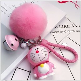doraemon costumes Canada - Cute Cartoon doraemon Plush Keychains small pendant Little Bell Women Bag Car Key Ring creative Valentines gifts