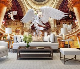 insulation prices 2019 - Low Price For Wallpaper European Dream Angel Beauty Roman Column Palace Background Wall Painting Wallpaper 3d Digital HD