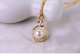 $enCountryForm.capitalKeyWord Australia - 925 Sterling Silver Natural Freshwater Pearl Pendants Jewlery For Women 8-9mm Pearl Size White Pink Purple Black