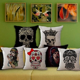 chairs skull Australia - Wholesale price 1 piece Vintage Cartoon Skull Seat Cushion Decorative Home Decor Sofa Chair Throw Pillows Case 45*45cm