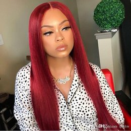 red lace front wig human hair Canada - Red Lace Front Human Hair Wig With Color Pre Plucked Glueless Real Brazilian Virgin Ombre Red Full Lace Straight Wigs For Black Women