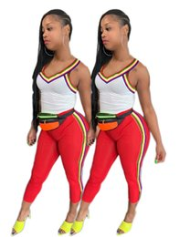 Wholesale two straps t shirts resale online - Women two pieces set summer clothes tank top fitness running jogging suit outfit gym sexy spaghetti strap t shirt bodycon leggings pants