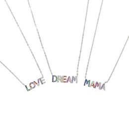 Discount 925 sterling silver letter love necklace - dropshipping real 925 sterling silver meaning customize colorful cz paved letter MAMA LOVE DREAM word necklace for women