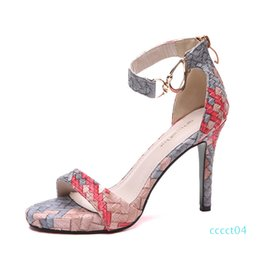 red sandals size 34 NZ - Red bottom high heels beautiful color printed woven knitted sandals women summer 9cm size 34 to 39 ct4