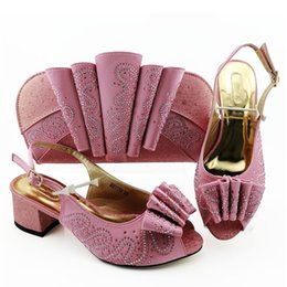 pink shoes rhinestones NZ - Most popular pink women dress shoes match handbag with rhinestone decoration African pumps and bag set for party MM1093,heel 5.8CM