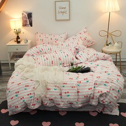 $enCountryForm.capitalKeyWord Australia - Pink Cherry Bedding Sets Girls Woman Kids Teen Adult bed Linens Duvet Cover Flat Bed Sheets Pillowcase King full Twin bedclothes