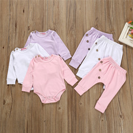 double shirt designs Australia - New INS Toddler Kids Baby Boys Girls Soild Romper Bodysuit + Pants Sets Blank Cotton Shouder Buttons Oblique Designs Children Clothing Set