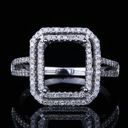 diamond wedding ring mounts UK - HELON 10X8mm Emerald Cut Solid 10K White Gold 0.5ct Natural Diamond Engagement Wedding Semi Mount Ring Women Trendy Fine Jewelry S200117