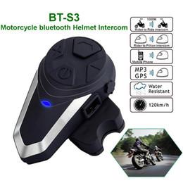 Wholesale BT-S3 Intercom Motorcycle Helmet Bluetooth Headset Headphones Motorbike Communication System FM Radio 3 Riders Walkie-talkie