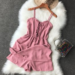 black party rompers 2019 - NiceMix 2019 Summer New simple sling women party Jumps was thin high waist sexy V-neck Elastic waist bandage female Romp