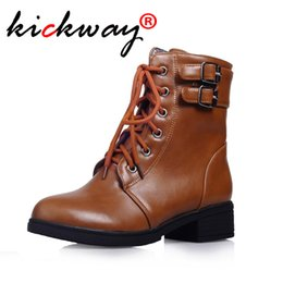 $enCountryForm.capitalKeyWord Australia - Autumn boots women ankle boots for women Lace Up Buckle Hoof heels sexy motorcycle Punk shoes bota feminina Plus size34-43