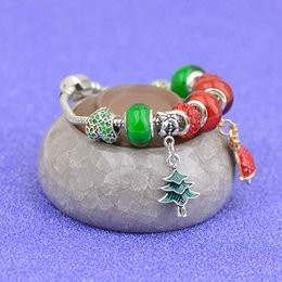 Green Day Charm Bracelet Australia - Christmas Tree Pendants Charm Bracelets Fit Pandora Girls Red Green Crystal Glass Beads Bangle Silver Snake Chain Jewelry New Year Gift P102