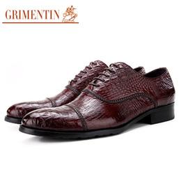 Grimentin Shoes UK - GRIMENTIN Hot Sale Mens Dress Shoes Fashion Designer Men Oxford Shoes Genuine Leather Crocodile Grain Formal Business Wedding Mens Shoes