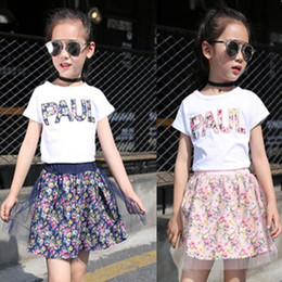 $enCountryForm.capitalKeyWord Australia - 2019 Summer baby girls clothing set children letter printing printed T-shirt+Floral Net yarn Skirt 2pcs suit kids clothes set