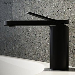 painting decks Australia - Brass Chrome Plated Black White Paint Cold And Hot Basin Faucet Single Hole Deck Mounted Washbasin Mixer Water Tap1