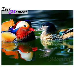 duck paintings NZ - wholesale Diamond Painting Mandarin Duck Water Full Square Drill Picture Mosaic Diamond Embroidery 5D DIY Rhinestones S2F878