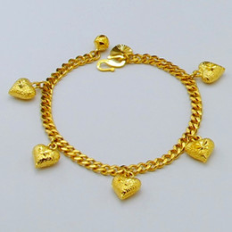Gp Wedding Australia - Fascinating and Trendy Women Ladies Wedding Party Jewelry Accessories 24k Gold GP Heart Shape Link Chain Bracelet for women