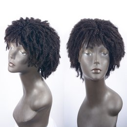 Kinky Curly Human Hair Afro Wigs Australia - Short Afro Kinky Curly Full Lace Human Hair Wigs Unprocessed Brazilian Glueless Human Hair Lace Front Wig With Bangs & Baby Hair