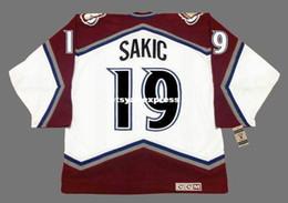 Venta al por mayor de Custom Mens JOE SAKIC Colorado Avalanche 2001 CCM Jerseys Vintage Home Barato Retro Hockey Jersey