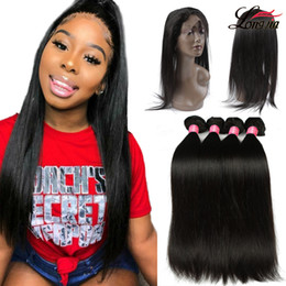 bundles hair 16 18 24 2019 - 8a Brazilian Straight Hair With 360 Lace Frontal Closure Human Hair 3 bundles With Closure Natural Color Cheap Pre Pluck