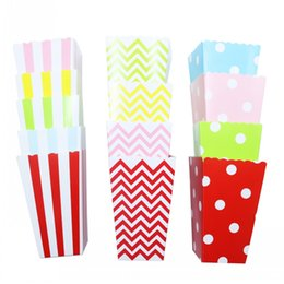 happy birthday decoration home 2020 - 6pcs lot Baby Shower Decoration Popcorn Boxes Kids Happy Birthday Party Boy and Girl Strip Polka Dot Chevron Movie Home