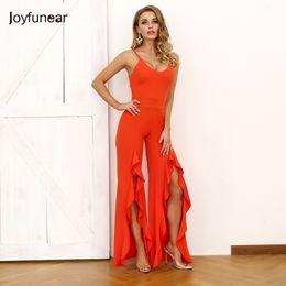 $enCountryForm.capitalKeyWord Australia - Joyfunear Summer Red Elegant Women Long Rompers Ruffles Sleeveless Backless V Neck Sexy Jumpsuit Outgoing Q190528