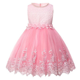 $enCountryForm.capitalKeyWord UK - 2018 Best Selling Lace Sequins Sweet Girl Child Princess Dress Round Neck Beaded High Quality Clothes Baby Birthday Party Dress J190506