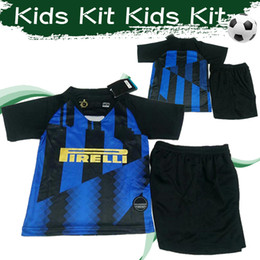 Brand uniforms online shopping - Kids Inter Anniversary Blue soccer jersey Brand new football Shirt Short Sleeve Customize Football Game Uniforms With Pants