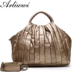 Handmade Patchwork Bags Australia - Arliwwi Brand Designer Real Leather Tote Handbag For Women Genuine Cowhide Handmade Patchwork Elegant Cross Body Bags Lady J190513