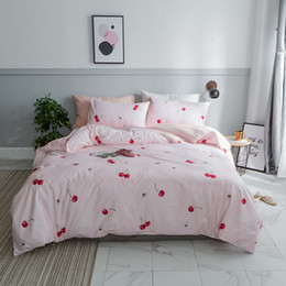 rose print bedding Australia - Lucky Home Red Cherry Pattern Duvet Cover Set Cotton Bedding Light Pink White Grid Printed Home Girl Women Room Decor King Size Sheet Set