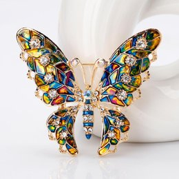 Butterfly lapel pins online shopping - Butterfly Rhinestone Colorful Metal Lapel Brooch Pin Fashion Jewelry Women Gift