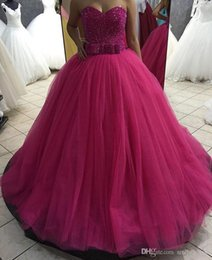 Sweetheart Beaded Evening Tulle Champagne Australia - Fuchsia Plus Size Prom Dresses Ball Gown Sparkly Beaded Sweetheart Lace Up Tulle Quinceanera Evening Dresses Custom Made SP380