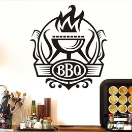 $enCountryForm.capitalKeyWord Australia - 1 Pcs Cuisine BBQ Badge Diy Wall Stickers Kitchen Wall Poster Vinyl Decoration Grill With Fire Stickers Decor Coffee Bar Decal Mural