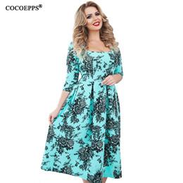 $enCountryForm.capitalKeyWord NZ - New 5xl 6xl Plus Size Print Dress Spring Summer Women Clothing 2018 Vintage Floral Print Big Sizes Female Office Dress Vestidos J190511