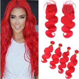 Pure Virgin Indian Hair Australia - Pure Red Indian Virgin Human Hair Body Wave 4x4 Lace Front Closure with Weaves 4Bundles Bright Red Wavy Virgin Hair Wefts with Closure