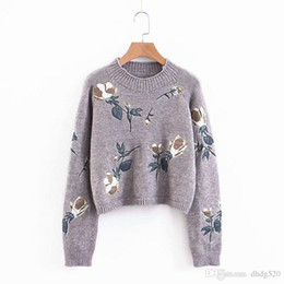 $enCountryForm.capitalKeyWord Australia - 2019 Spring New Pattern Wind Patch Embroidery Round Neck Pullover Short Fund Knitting Sweater