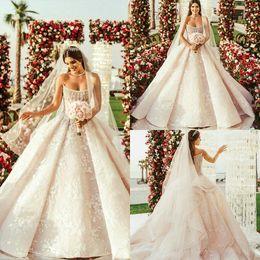 $enCountryForm.capitalKeyWord Australia - 2020 Luxury Church Wedding Dresses Strapless Lace Appliqued Ruffles Sweep Train Beads Country Bridal Gowns Custom Made Beach Wedding Dress