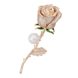 $enCountryForm.capitalKeyWord UK - OBN Fashion CZ Silver Tone Micro Paved Floral Brooch Long Stem Green Leaves Ornate Rose Flower Pins for Women Jewelry