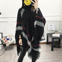 13 Computer Sleeve Australia - 2018 Autumn 13 Colors Women Wool Plaid Cardigan Casual Style Turtleneck Tassel Cape Batwing Sleeve Knit Sweater