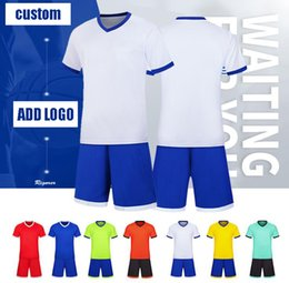 custom soccer team uniforms NZ - New Free designed Custom uniforms adult children's soccer suit kit personalized printed jerseys short sleeves shorts soccer practice team