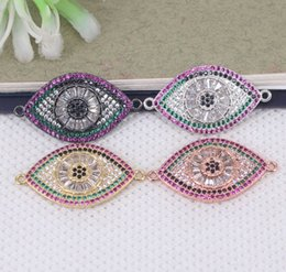 Micro Pave Connectors Australia - 10pcs Micro Pave CZ Evil Eye connector Beads,Metal Copper Cubic Zirconia Evil Eye beads For Jewelry Making