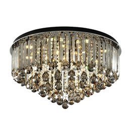 $enCountryForm.capitalKeyWord Australia - New design dimmable crystal ceiling round chandelier light modern smoky gray flush mount led chandeliers lighting for living room bedroom